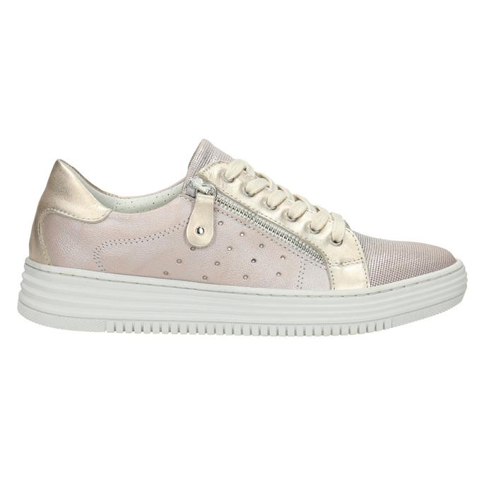 Růžové kožené tenisky se zipem bata, růžová, 526-5630 - 15