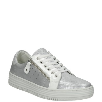 Kožené dámské tenisky bata, stříbrná, 526-1630 - 13