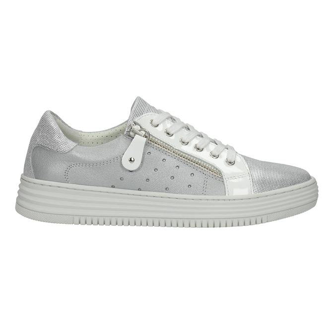 Kožené dámské tenisky bata, stříbrná, 526-1630 - 15