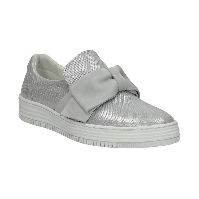 Kožená Slip-on obuv s mašlí bata, stříbrná, 516-2605 - 13