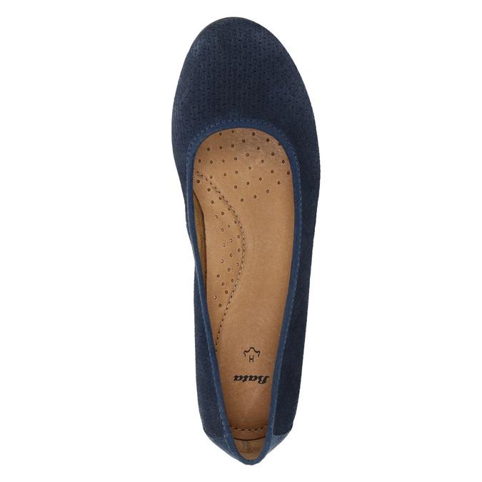 Kožené lodičky šíře H bata, modrá, 623-9601 - 19