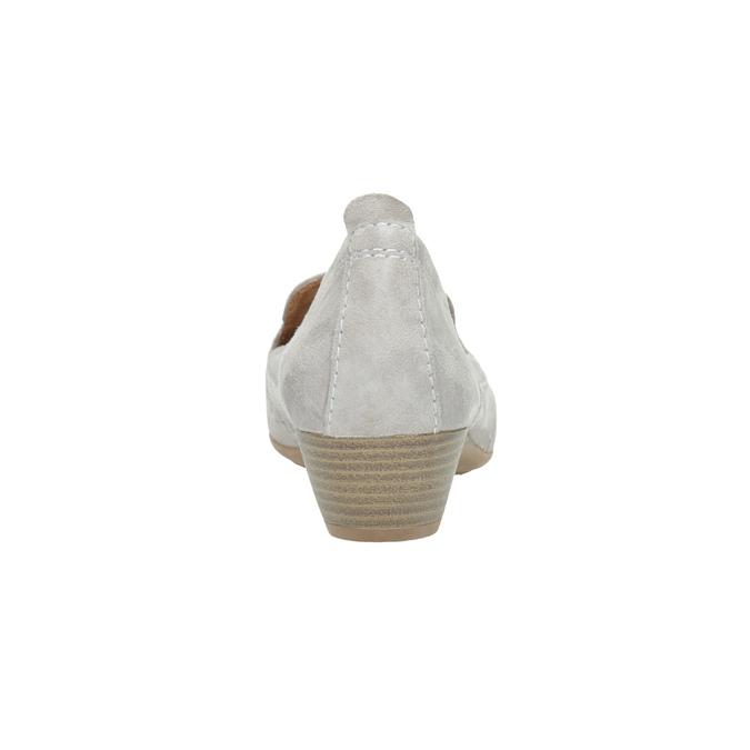 Dámské kožené mokasíny šíře H bata, šedá, 523-2603 - 17