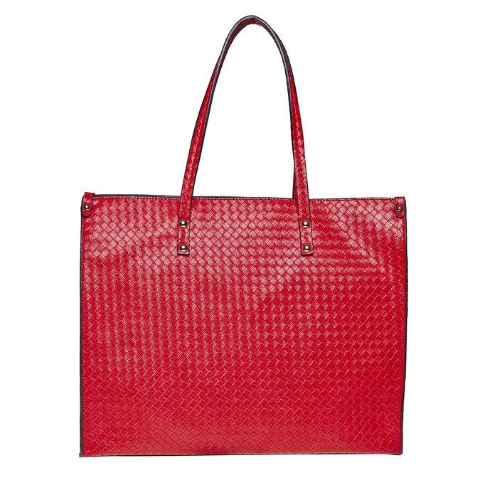 Červená kabelka s pleteným vzorem bata, červená, 961-5289 - 26