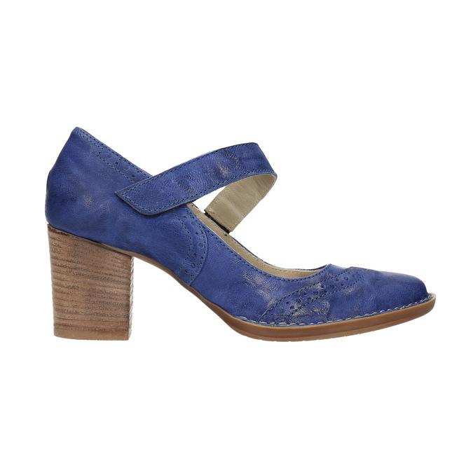 Kožené lodičky s páskem přes nárt bata, modrá, 626-9641 - 15