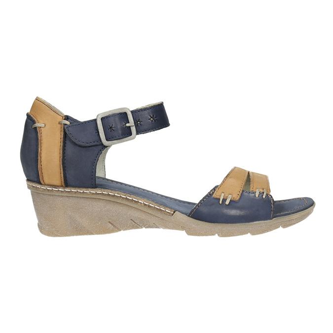 Kožené sandály na klínku bata, modrá, 626-9642 - 15