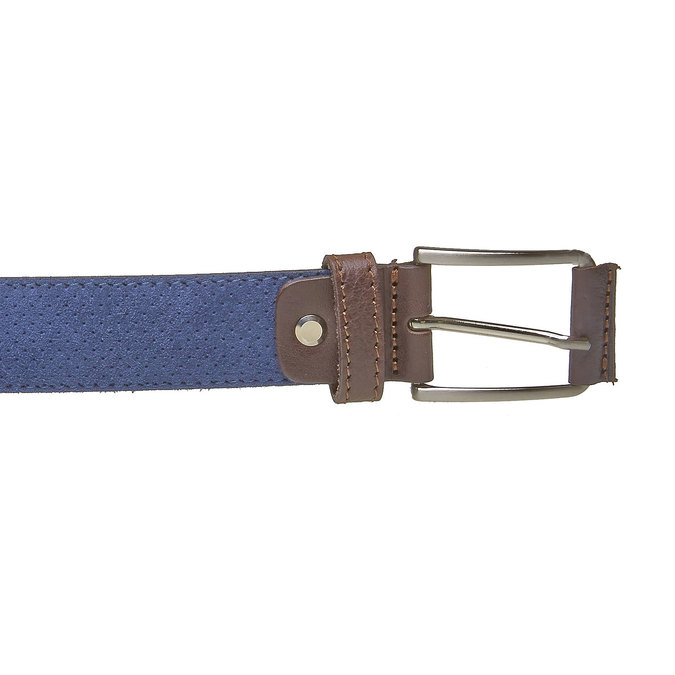 Kožený pánský pásek s perforací bata, modrá, 953-9325 - 26