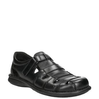 Pánské kožené sandály černé bata, černá, 864-6600 - 13