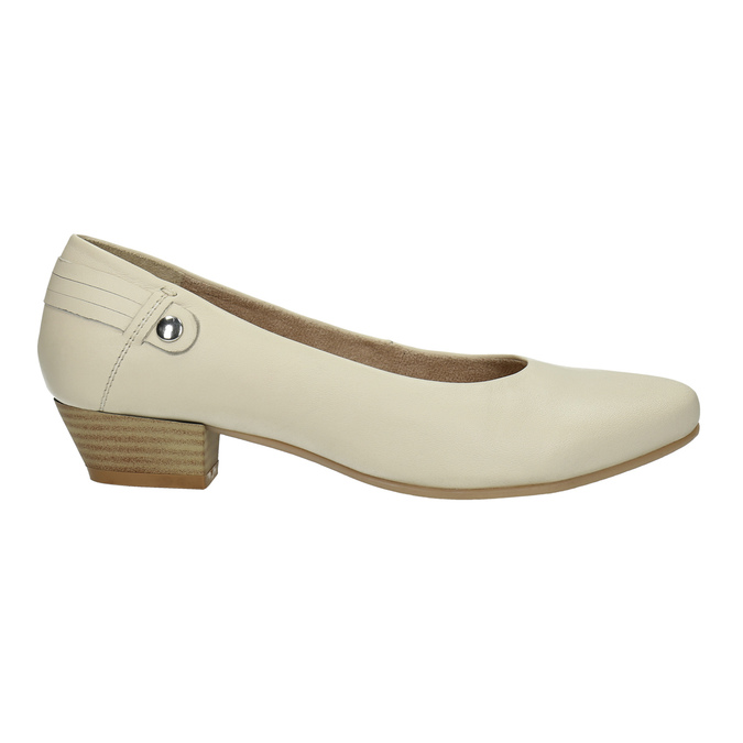 Kožené lodičky na nízkém podpatku bata, béžová, 624-1603 - 15