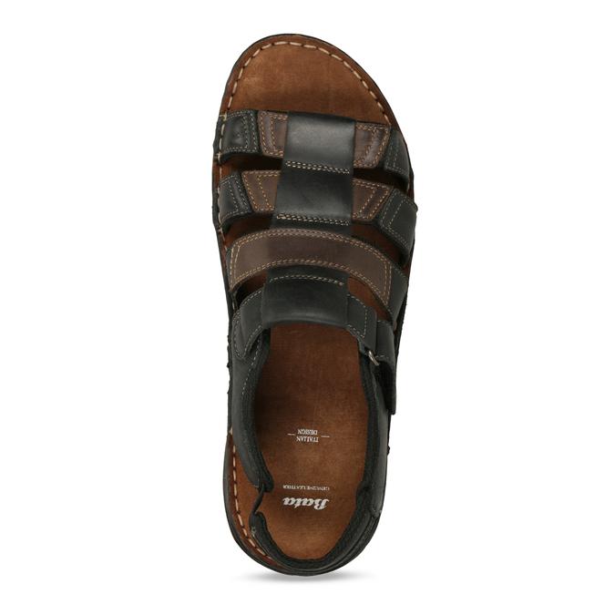 Černo-hnědé pánské kožené sandály bata, hnědá, 866-4610 - 17