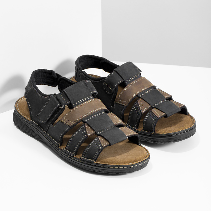 Černo-hnědé pánské kožené sandály bata, hnědá, 866-4610 - 26