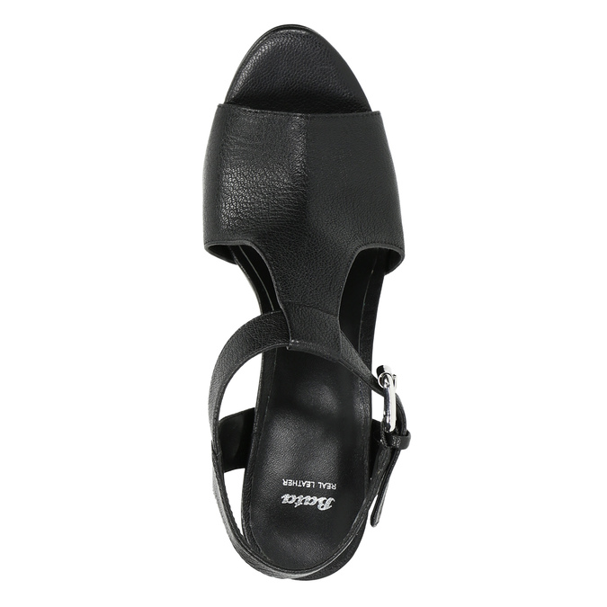 Kožené černé sandály na podpatku bata, černá, 766-6600 - 19