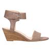 Kožené sandály na klínku bata, hnědá, 666-4607 - 15