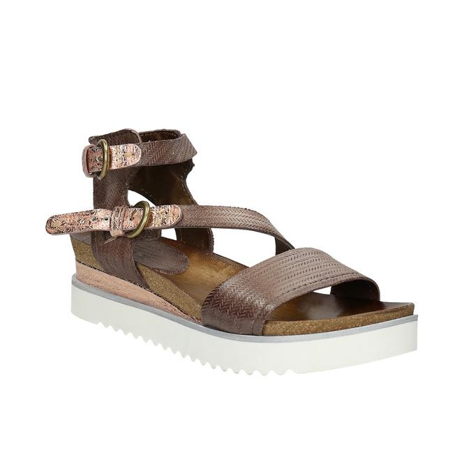 Dámské sandály na výrazné podešvi bata, hnědá, 666-4604 - 13