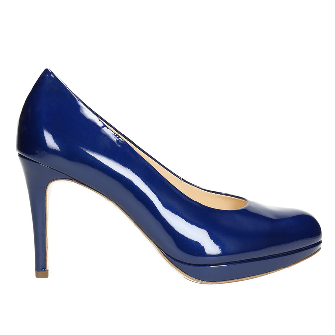Kožené lakované lodičky hogl, modrá, 728-9400 - 15