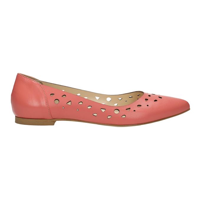 Kožené baleríny do špičky bata, růžová, 524-0604 - 15