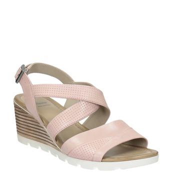 Růžové kožené sandály na klínku bata, růžová, 666-5606 - 13