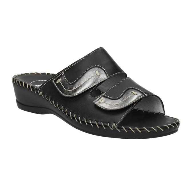Kožená domácí obuv comfit, černá, 674-6600 - 13