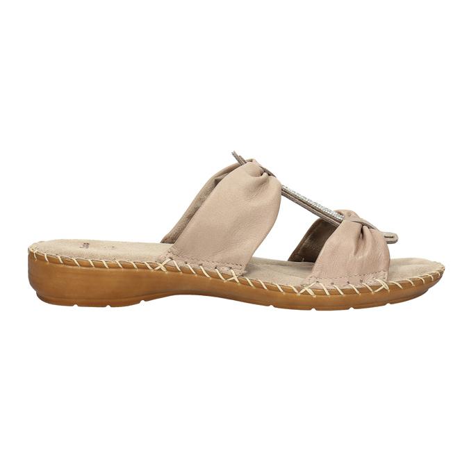 Kožené nazouváky šíře H bata, béžová, 566-4605 - 15