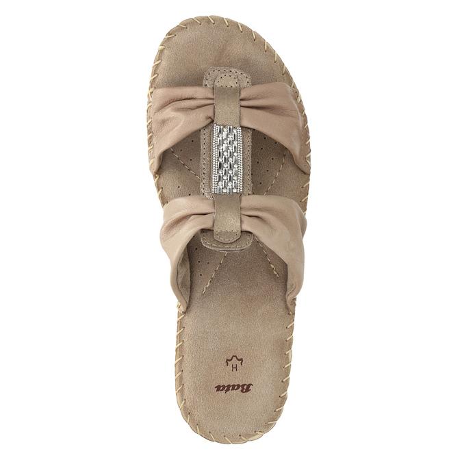Kožené nazouváky šíře H bata, béžová, 566-4605 - 19