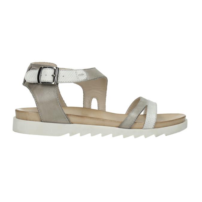 Kožené sandály na výrazné podešvi bata, šedá, 566-2606 - 15