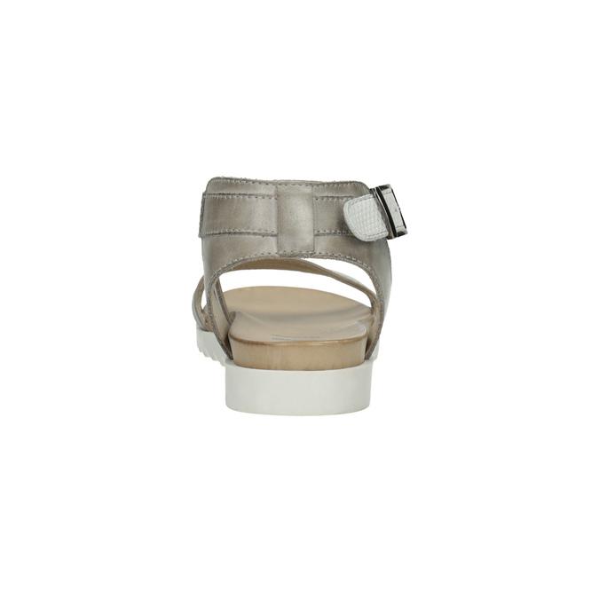Kožené sandály na výrazné podešvi bata, šedá, 566-2606 - 17