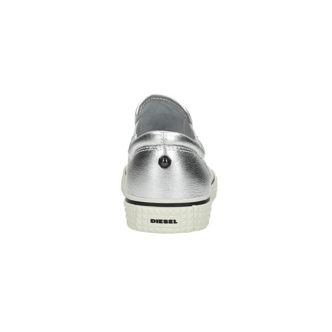 Kožená stříbrná Slip-on obuv diesel, stříbrná, 504-1437 - 17