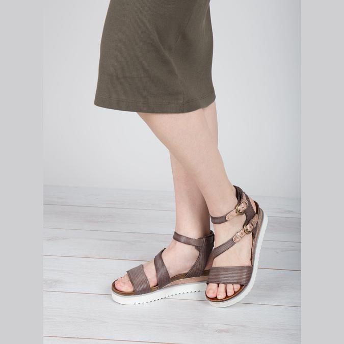 Dámské sandály na výrazné podešvi bata, hnědá, 666-4604 - 18