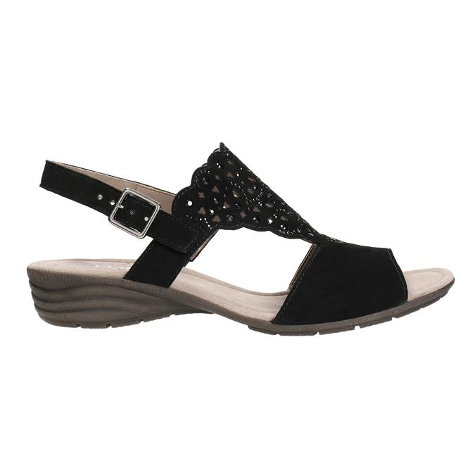 Kožené dámské sandály s perforací gabor, černá, 663-6201 - 15