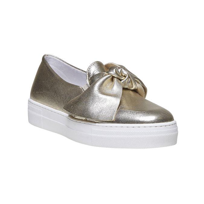 Zlatá kožená Slip-on obuv s mašlí north-star, zlatá, 514-8264 - 13