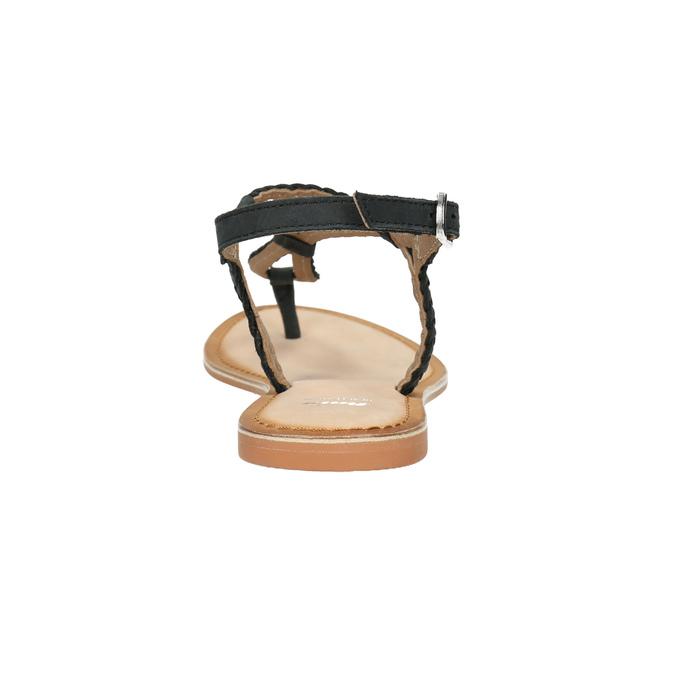 Dámské kožené sandály s propletením bata, černá, 566-6621 - 17