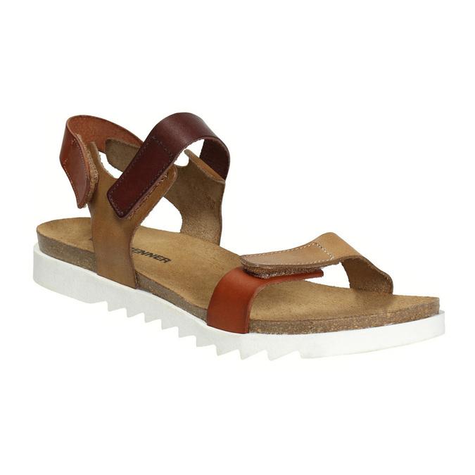 Dámské kožené sandály weinbrenner, hnědá, 566-4630 - 13