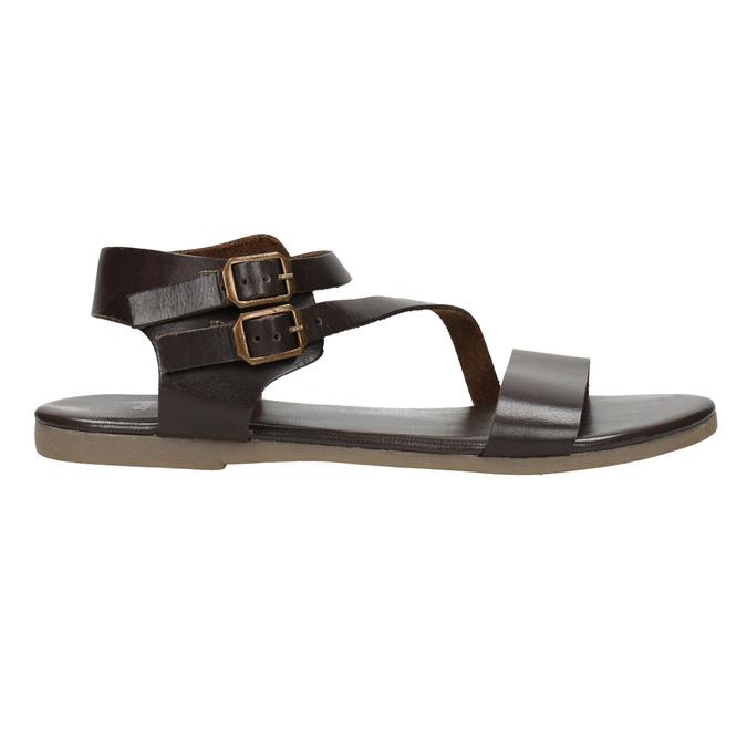 Hnědé kožené sandály bata, hnědá, 566-4613 - 15