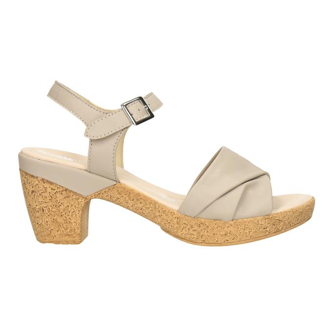 Kožené sandály na nízkém podpatku bata-touch-me, béžová, 666-8203 - 15