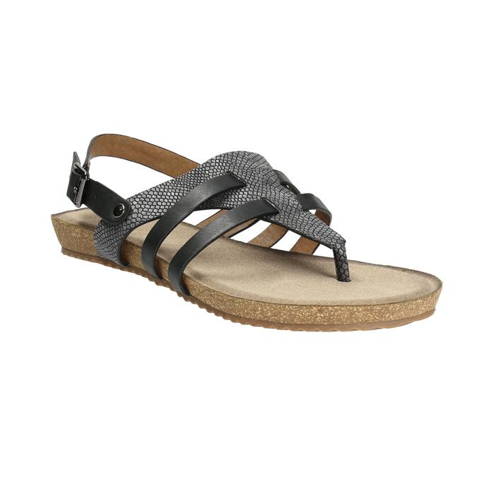 Korkové sandály s hadím vzorem bata, černá, 561-6606 - 13