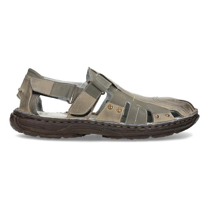 Pánské kožené sandály hnědé bata, hnědá, 866-2622 - 19