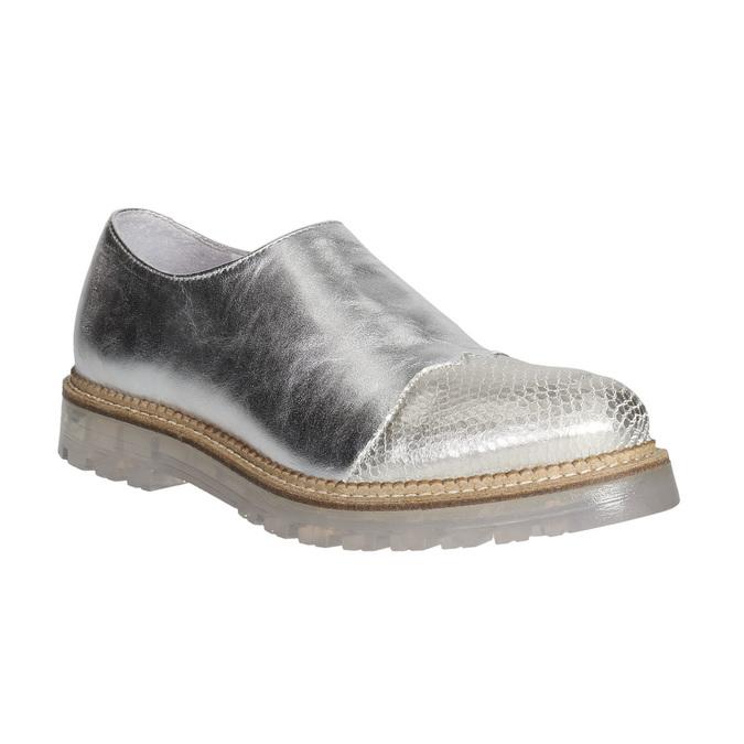 Dámské kožené polobotky stříbrné bata, stříbrná, 536-1600 - 13