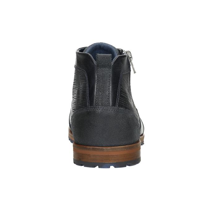 Kožená kotníčková obuv se zipem bata, modrá, 826-9911 - 17