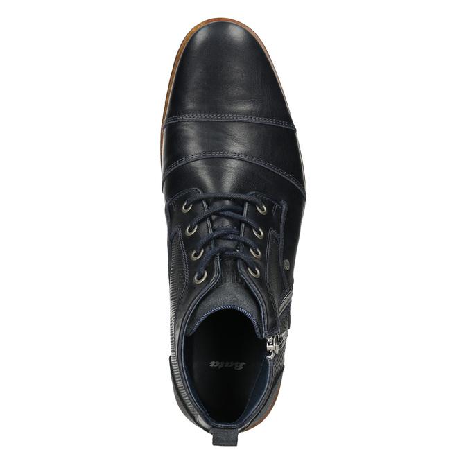 Kožená kotníčková obuv se zipem bata, modrá, 826-9911 - 26