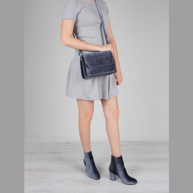 Dámská sametová kabelka bata, šedá, 969-2662 - 18