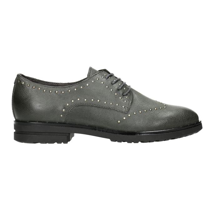 Kožené polobotky s kovovými cvoky bata, šedá, 526-9643 - 26