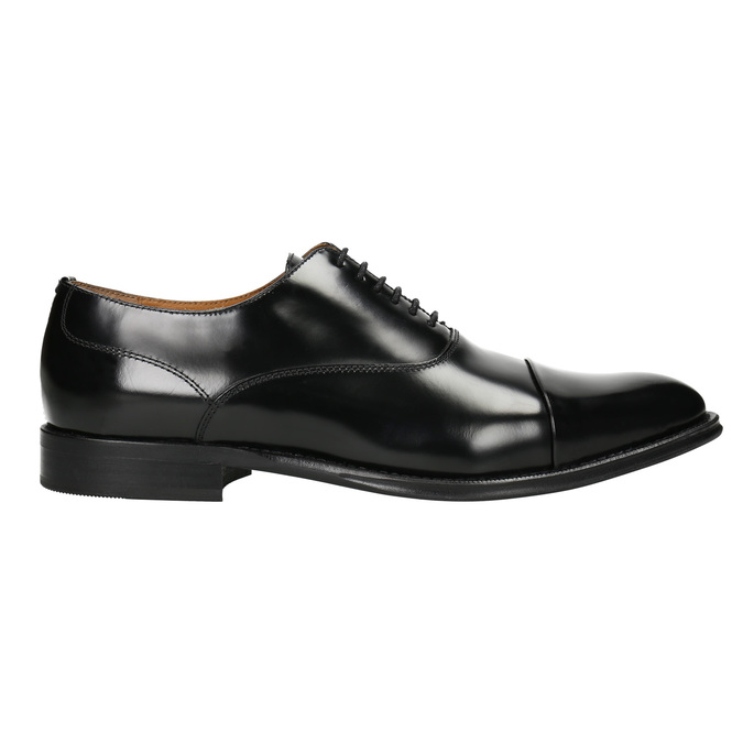 Černé kožené Oxford polobotky bata, černá, 826-6671 - 26