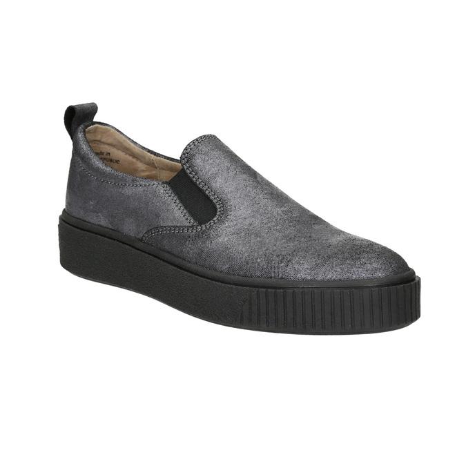 Dámské Slip-on na černé flatformě bata, šedá, 516-1613 - 13