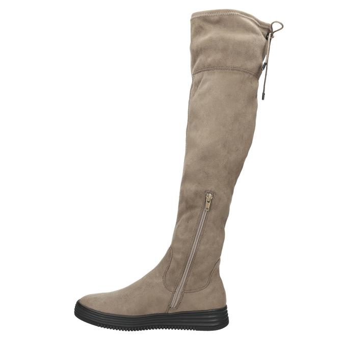 Hnědé dámské kozačky nad kolena bata, hnědá, 699-3634 - 26