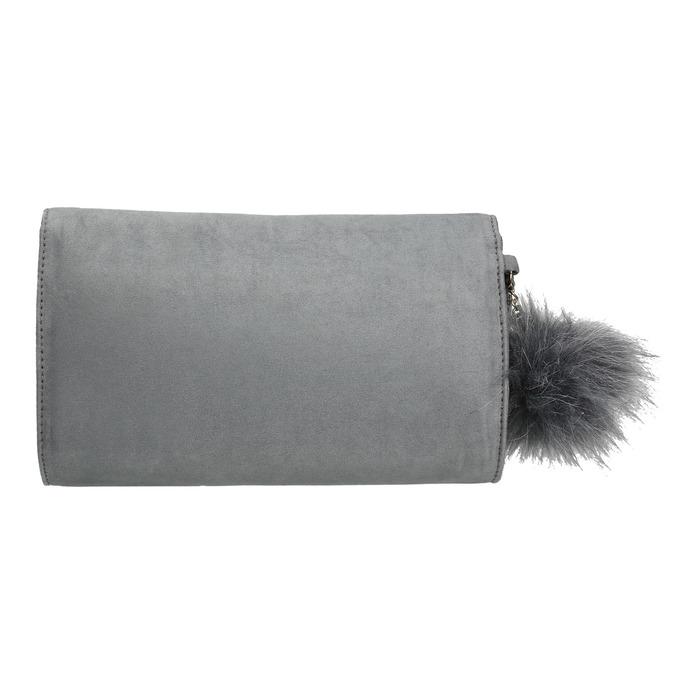 Šedé psaníčko s pom pom ozdobou bata, šedá, 969-2666 - 26