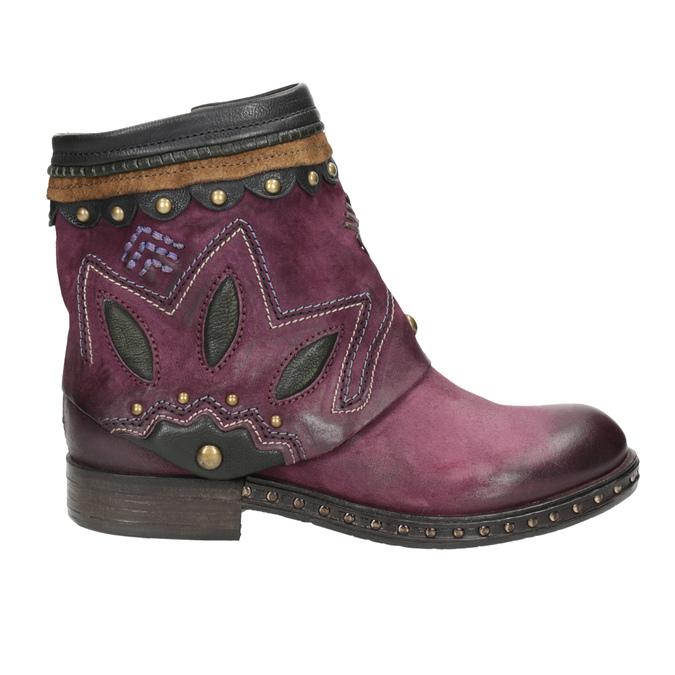 Kožená kotníčková obuv a-s-98, fialová, 516-5093 - 26
