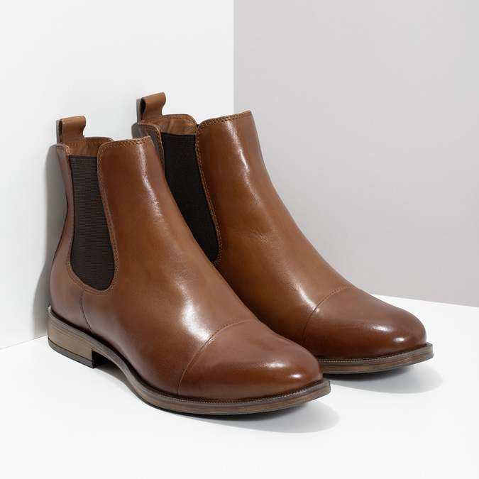 Kožená hnědá dámská Chelsea obuv bata, hnědá, 594-4636 - 26