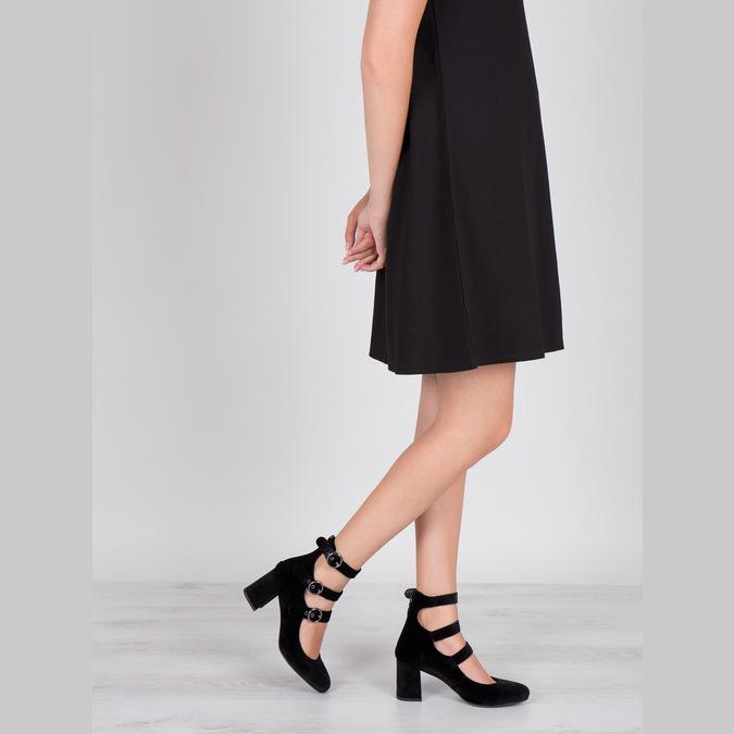 Sametové lodičky s pásky bata, černá, 629-6632 - 18