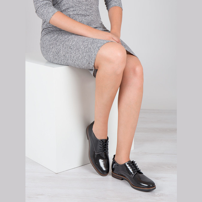 Dámské lakované polobotky bata, černá, 528-4600 - 18