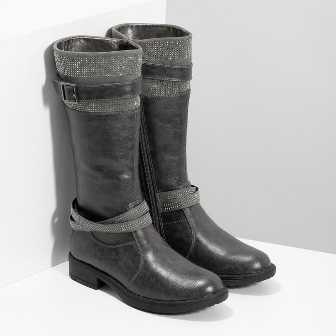 Dívčí kozačky s kamínky mini-b, šedá, 391-2655 - 26