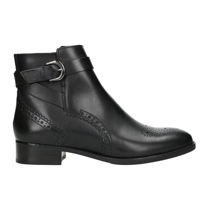Kožená kotníčková obuv se zdobením clarks, černá, 614-6027 - 26